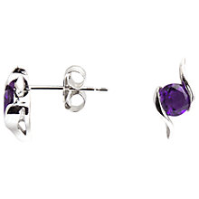 Buy A B Davis 9ct White Gold Amethyst Propeller Stud Earrings Online at johnlewis.com