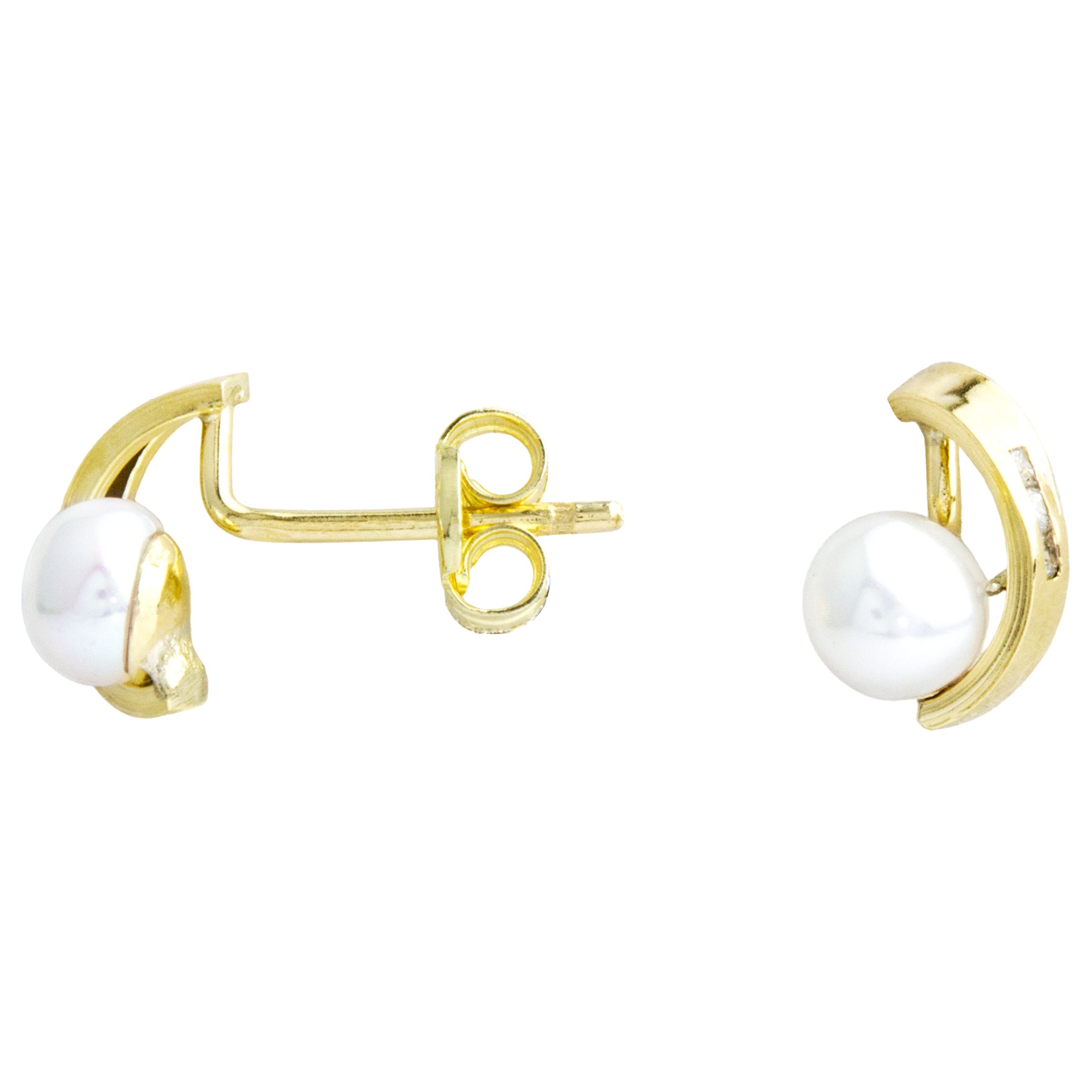 A B Davis A B Davis 9ct Gold Bow Pearl and Cubic Zirconia Stud Earrings, White