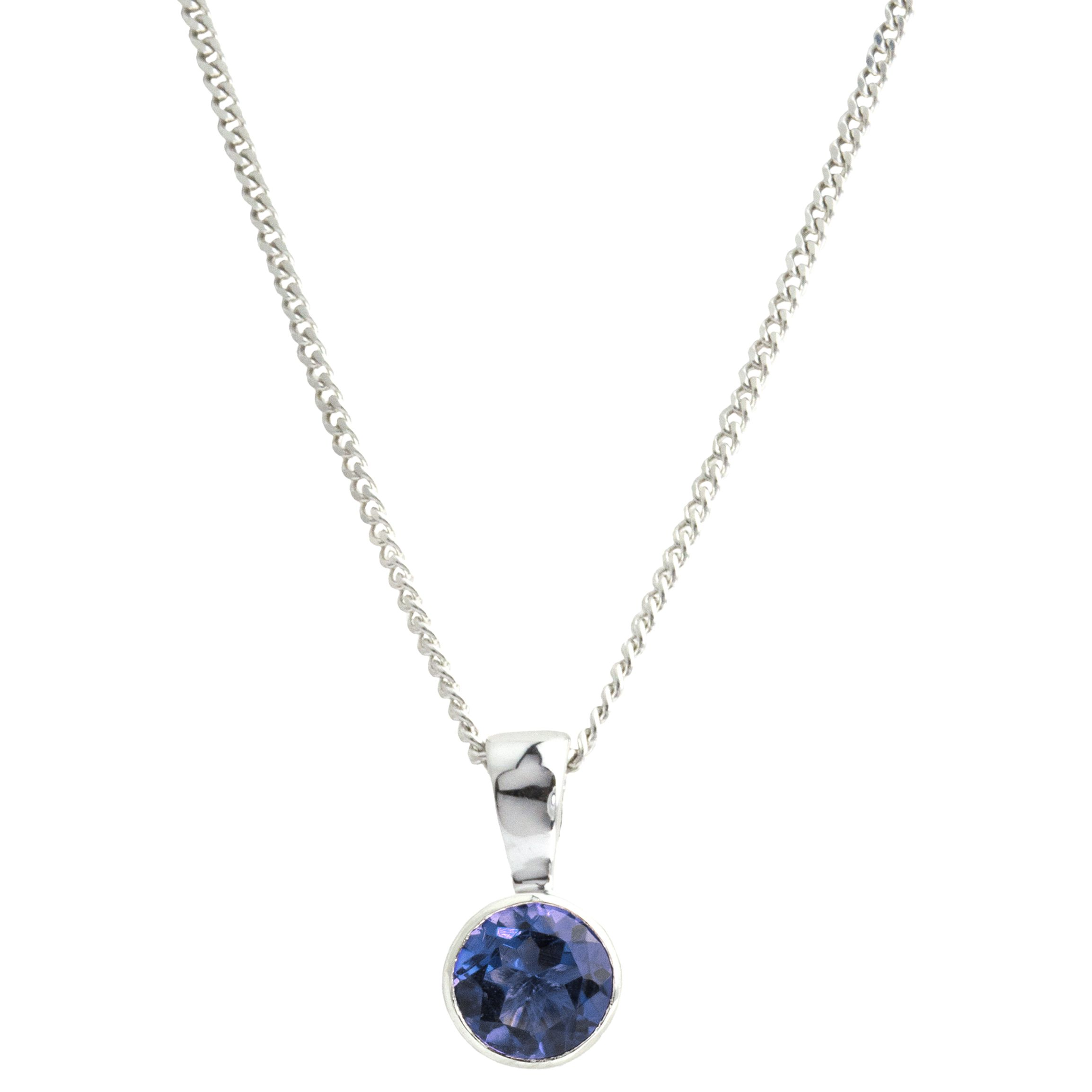 A B Davis A B Davis 9ct White Gold Round Sapphire Pendant Necklace, 0.6ct
