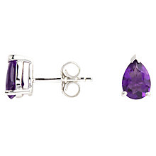 Buy A B Davis 9ct White Gold Pear Stud Earrings, Amethyst Online at johnlewis.com