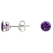 Buy A B Davis Round Amethyst Stud Earrings, Purple Online at johnlewis.com