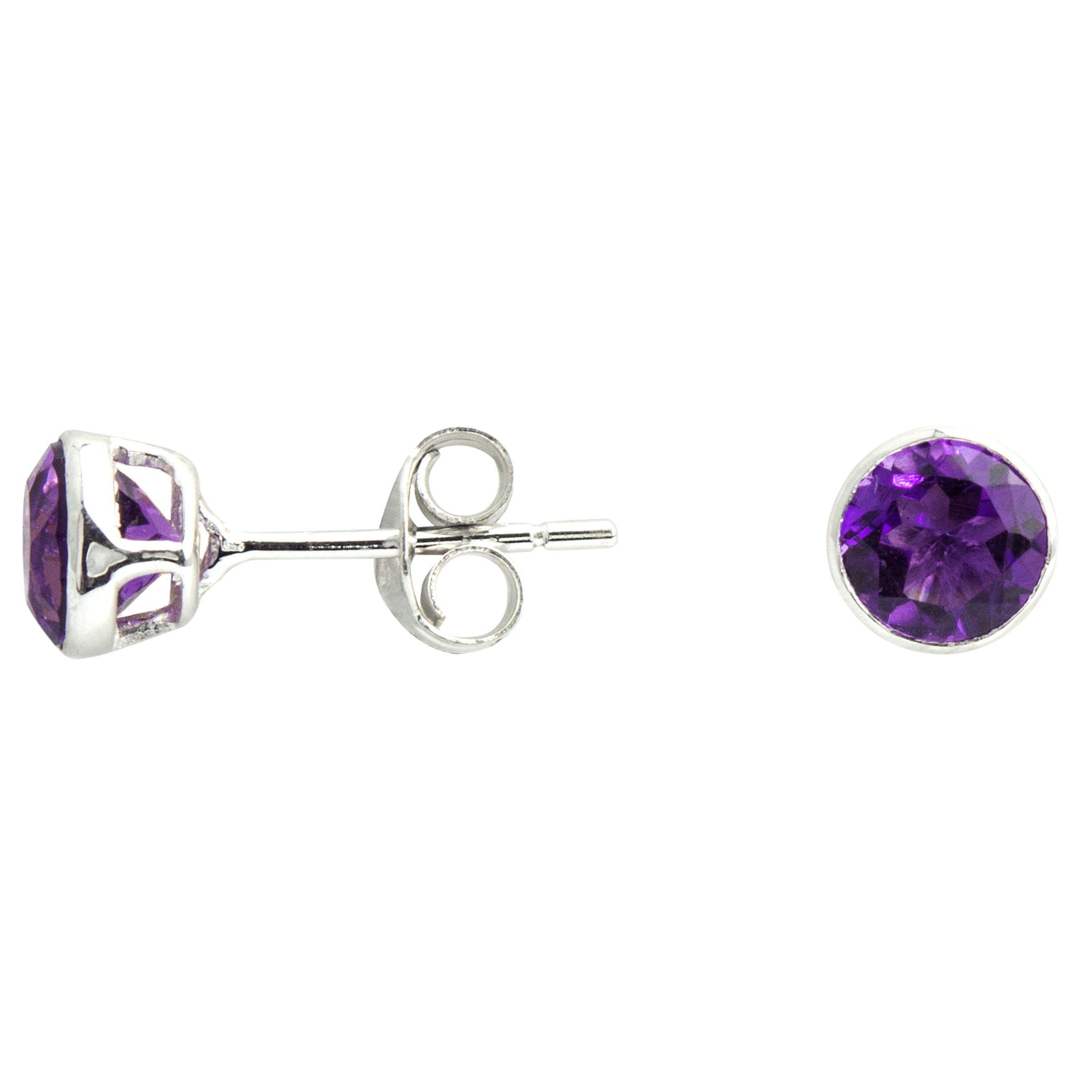 A B Davis A B Davis Round Amethyst Stud Earrings, Purple