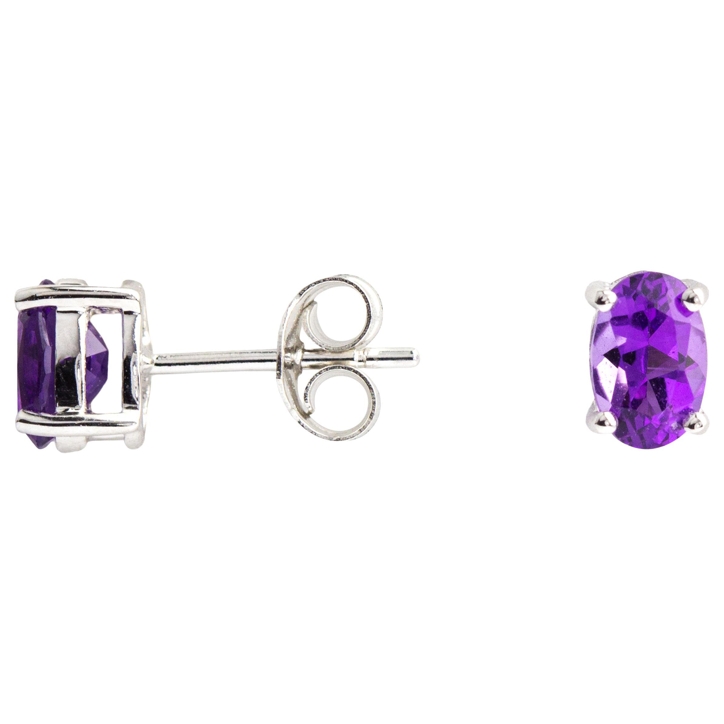 A B Davis A B Davis 9ct White Gold Amethyst Oval Claw Set Stud Earrings, Purple