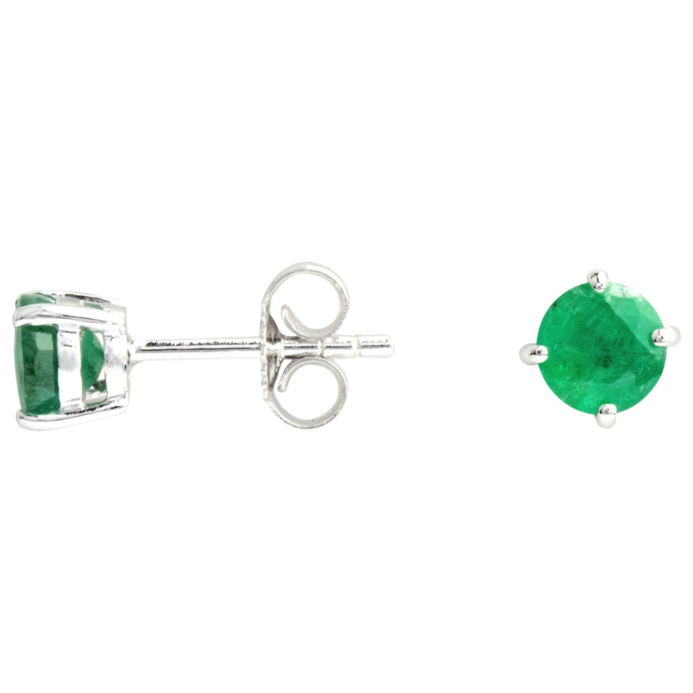 A B Davis A B Davis 9ct White Gold Round Emerald Stud Earrings, 0.6ct