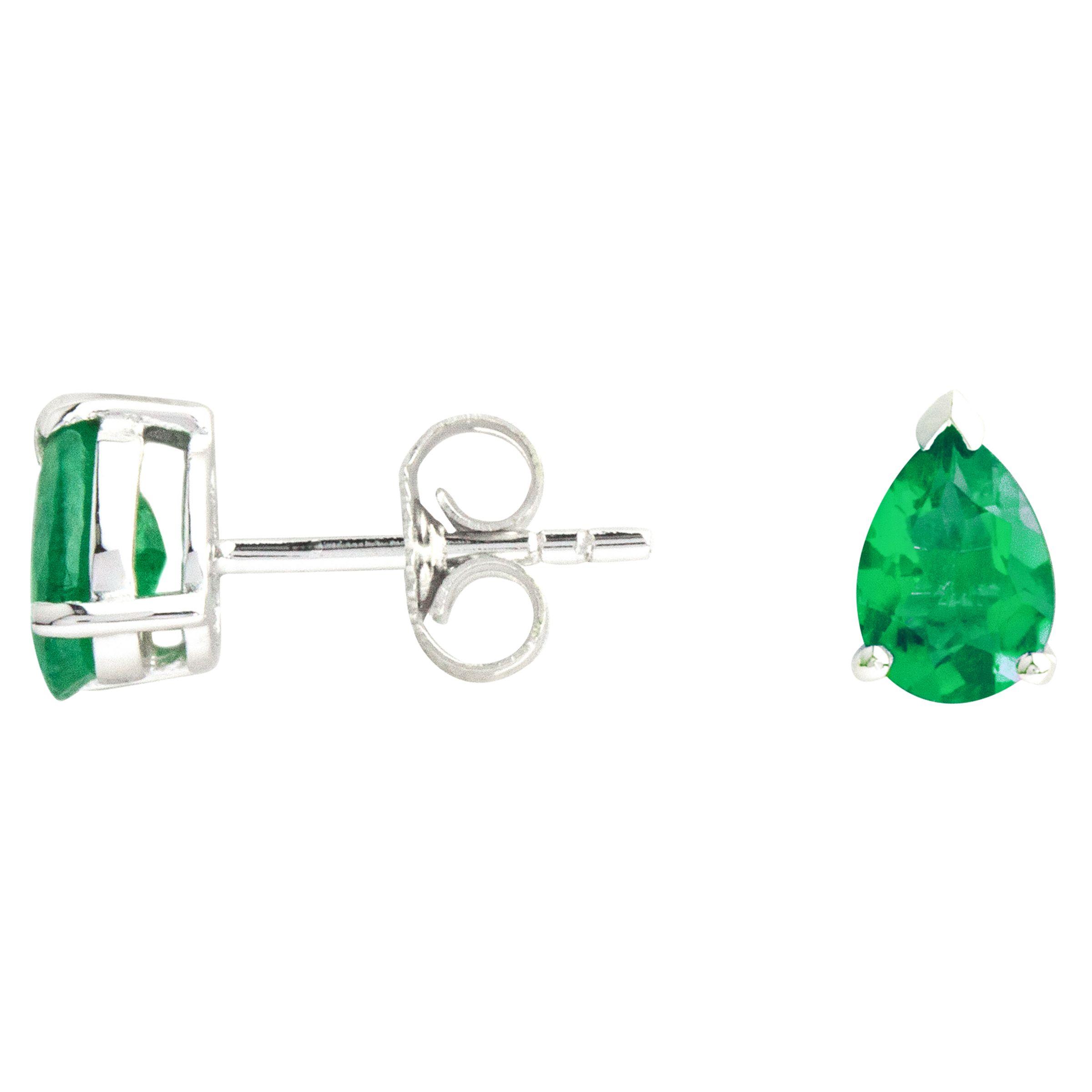 A B Davis A B Davis 9ct White Gold Emerald Pear Stud Earrings, 0.6ct