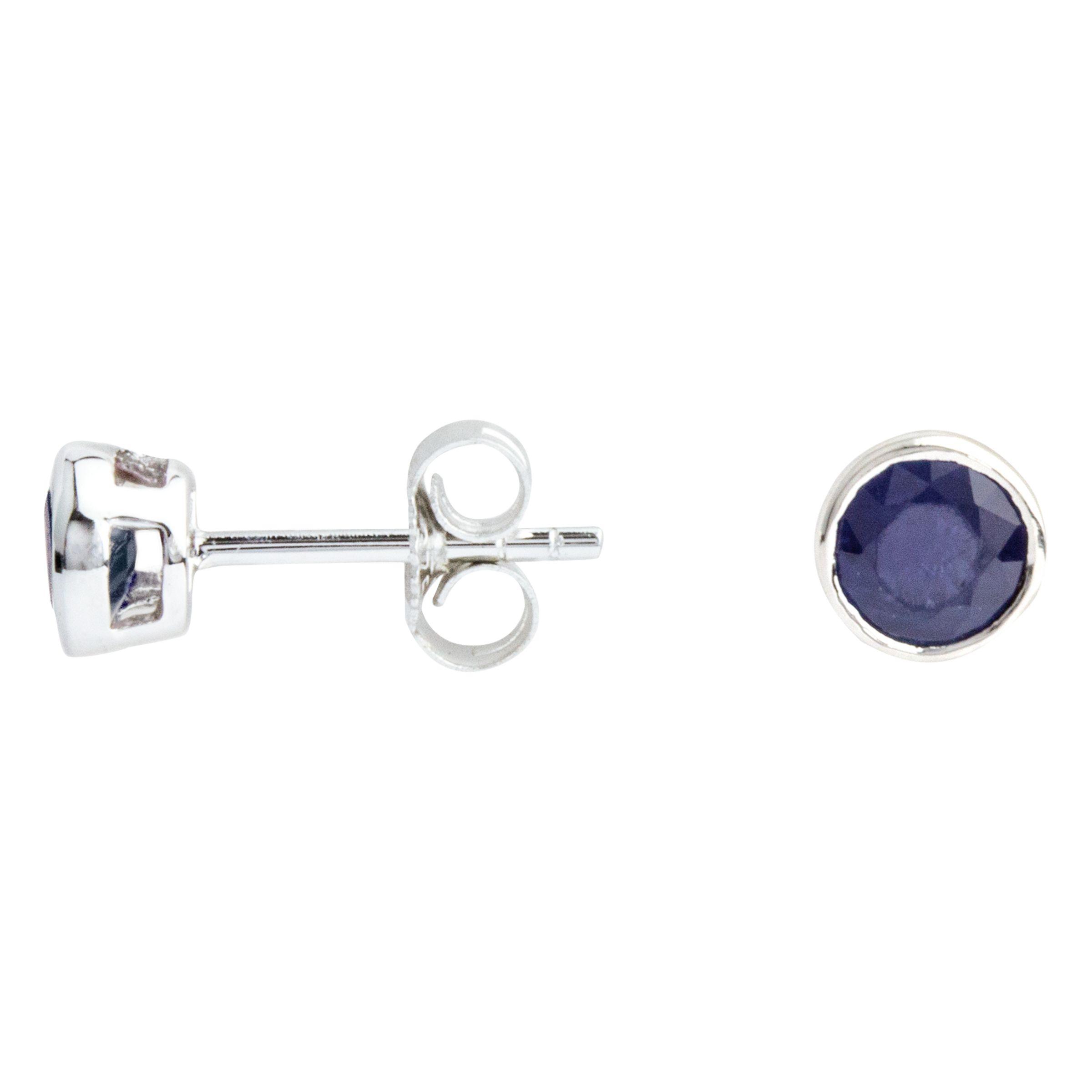 A B Davis A B Davis 9ct White Gold Round Sapphire Stud Earrings, 0.6ct