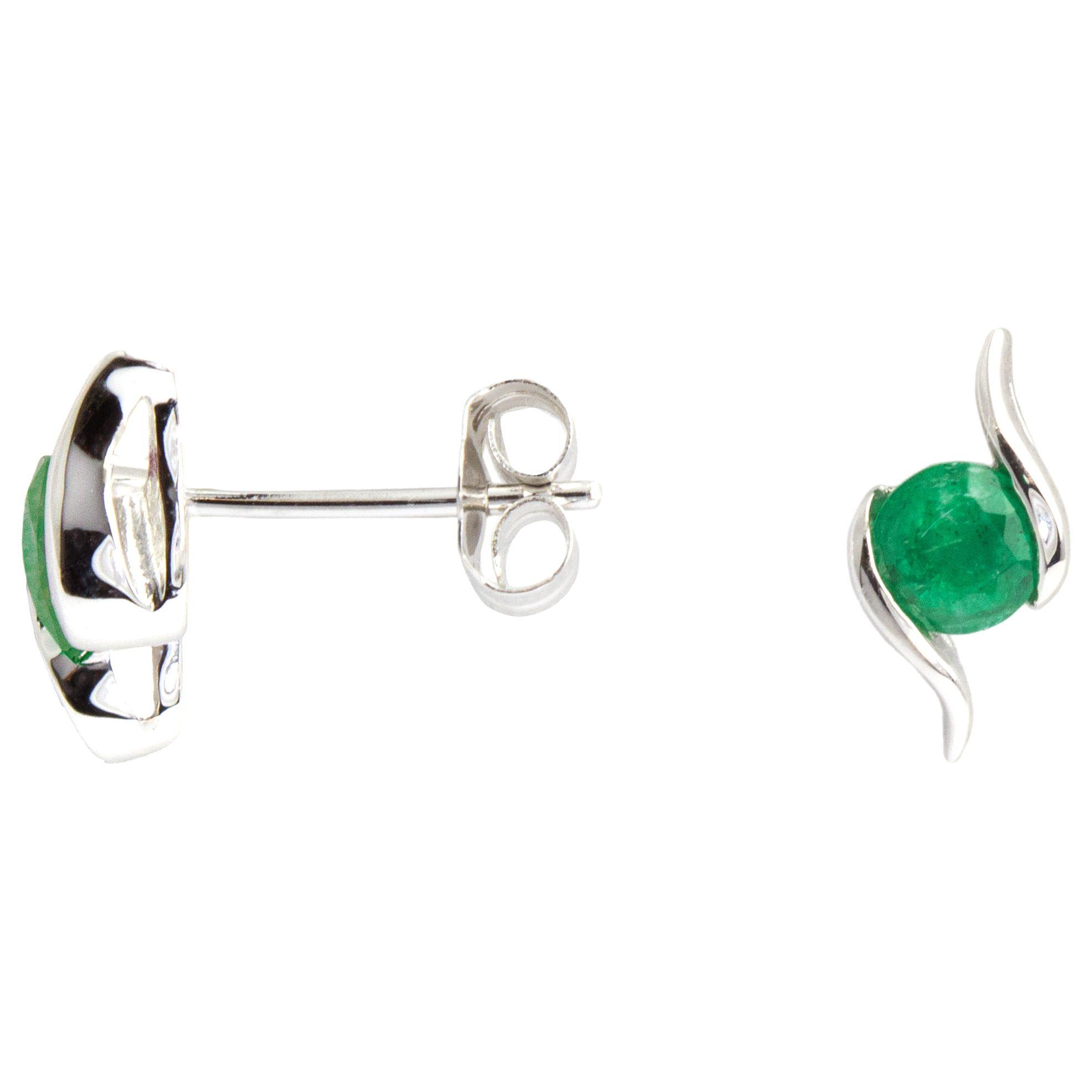 A B Davis A B Davis 9ct White Gold Emerald Propeller Stud Earrings, 0.4ct