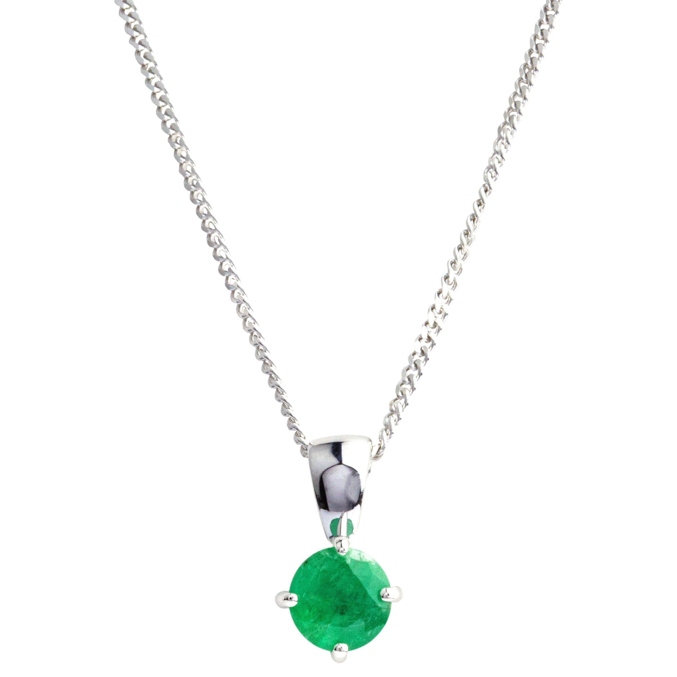 A B Davis A B Davis 9ct White Gold Round Emerald Pendant Necklace
