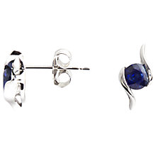 Buy A B Davis 9ct White Gold Sapphire Propeller Stud Earrings Online at johnlewis.com
