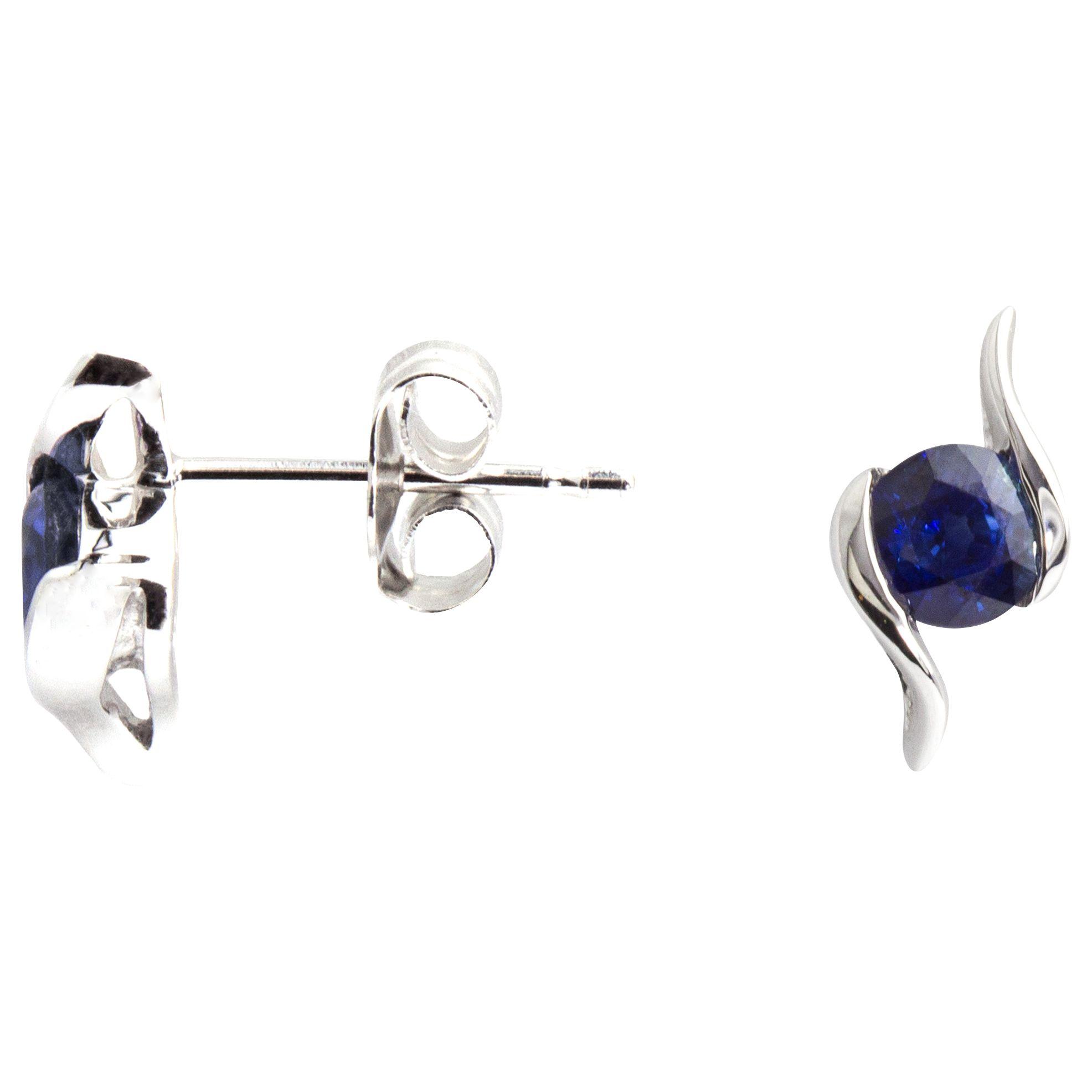 A B Davis A B Davis 9ct White Gold Sapphire Propeller Stud Earrings