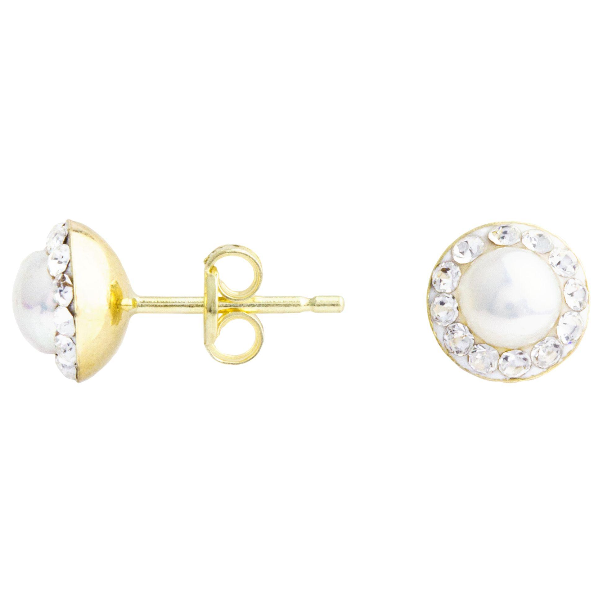 A B Davis A B Davis 9ct Yellow Gold Cubic Zirconia Surround Pearl Stud Earrings, White