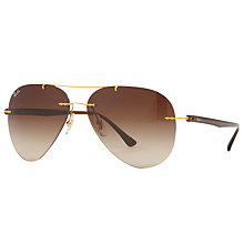 Buy Ray-Ban RB8058 Frameless Aviator Sunglasses, Brushed Gold/Brown Gradient Online at johnlewis.com