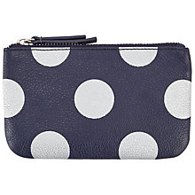 Buy John Lewis Dot Print Leather Coin Purse, Blue Online at johnlewis.com
