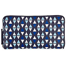 Buy John Lewis Triangle Print Leather Zip Around Purse, Navy Online at johnlewis.com