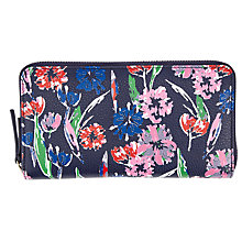Buy John Lewis Tulip Print Leather Zip Around Purse, Blue Online at johnlewis.com