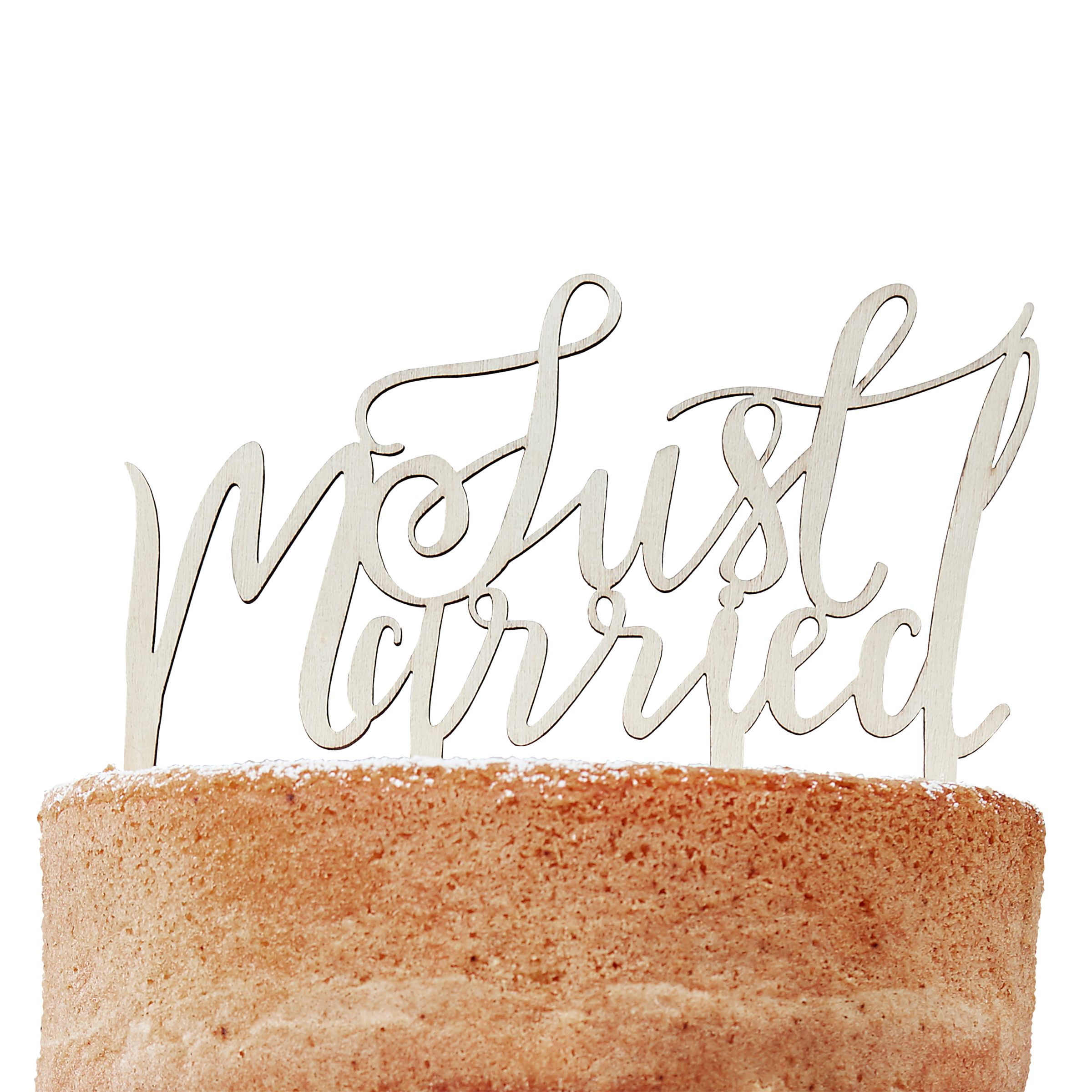 Ginger Ray Ginger Ray Just Married Wooden Cake Topper
