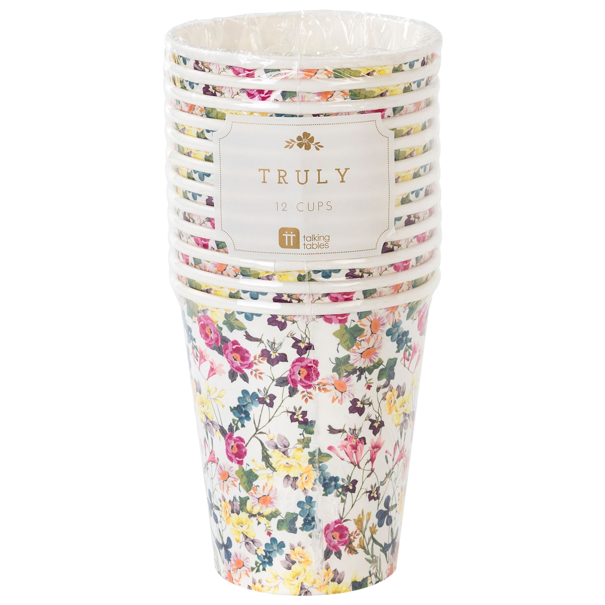 Talking Tables Talking Tables Truly Scrumptious Floral Cups, Pack of 12