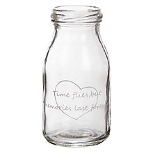Buy John Lewis 'Time Flies' Glass Bottle Online at johnlewis.com