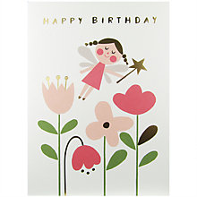 Buy James Ellis Stevens Pink Fairy And Flowers Greeting Card Online at johnlewis.com