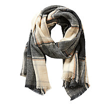 Buy Betty & Co. Long Check Scarf, Grey/Beige Online at johnlewis.com