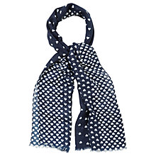 Buy Oasis Margo Heart Print Scarf, Navy Online at johnlewis.com