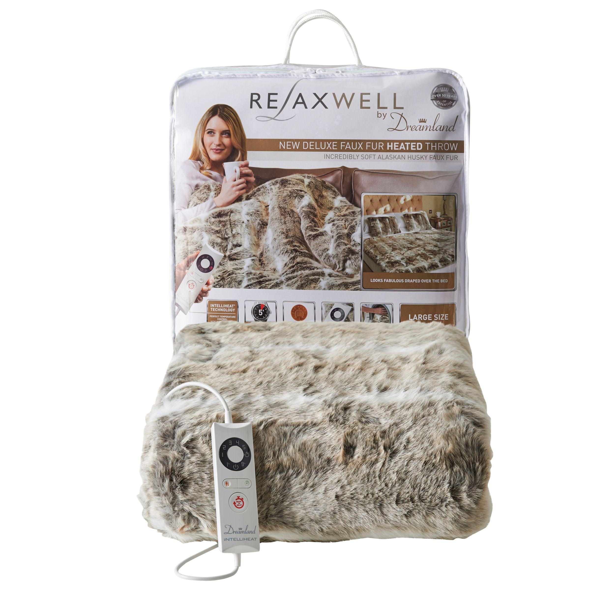 Dreamland Dreamland 16340 Faux Fur Throw Heated Electric Blanket, Alaskan Grey