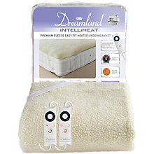 Buy Dreamland 16298 Heated Fleece Dual Control Kingsize Electric Underblanket, White Online at johnlewis.com