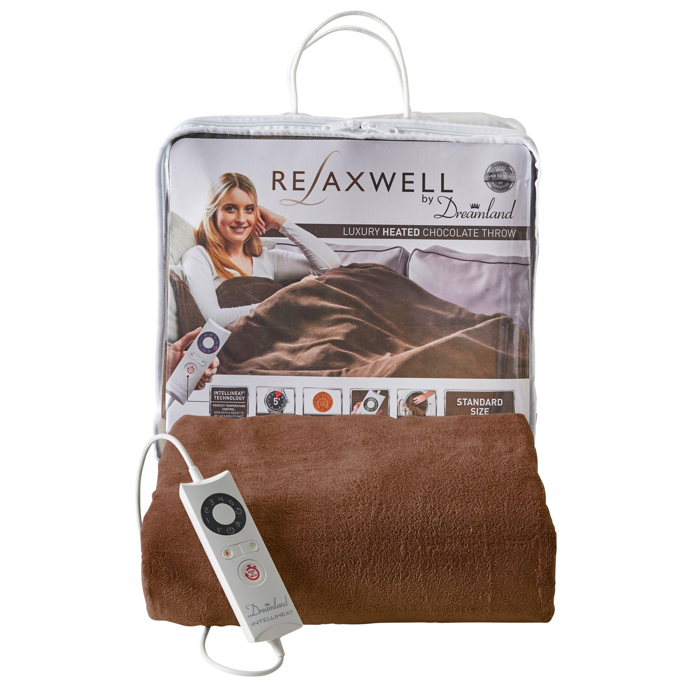 Dreamland Dreamland 16333 Relaxwell Luxury Heated Throw Electric Blanket, Chocolate Brown