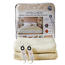 Buy Dreamland 16305 Heated Fleece Dual Control Fitted Double Mattress Protector, White Online at johnlewis.com