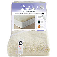 Buy Dreamland 16296 Heated Fleece Fitted Double Underblanket, White Online at johnlewis.com