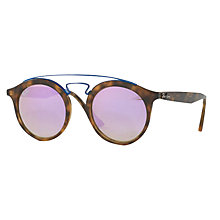 Buy Ray-Ban RB4256 Round Sunglasses, Tortoise/Lilac Online at johnlewis.com