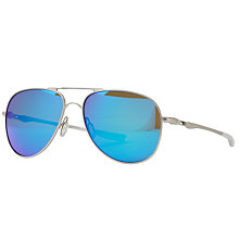 Buy Oakley OO4119 Elmont Medium Polarised Aviator Sunglasses, Satin Chrome/Sapphire Iridium Online at johnlewis.com