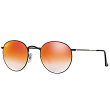 Buy Ray-Ban RB3447 Round Sunglasses, Black/Mirror Orange Online at johnlewis.com