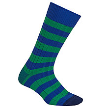 Buy Paul Smith Bright Stripe Rib Socks, One Size, Green/Blue Online at johnlewis.com