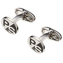 Buy Paul Smith Logo Cufflinks, Silver/Black Online at johnlewis.com