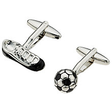 Buy John Lewis Football Cufflinks, Black/Silver Online at johnlewis.com