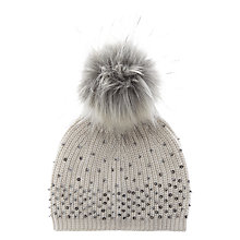 Buy Mint Velvet Embellished Hat With Faux Fur Pom, Neutral Online at johnlewis.com