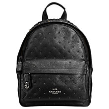 Buy Coach Mini Campus Leather Backpack, Black Online at johnlewis.com