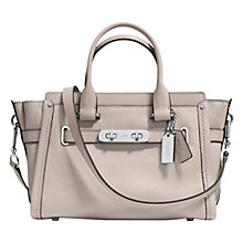 Buy Coach Swagger Pebble Leather Carryall Bag, Grey Birch Online at johnlewis.com