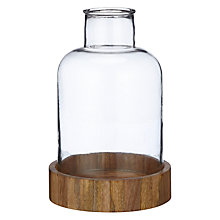 Buy John Lewis Fusion Hurricane Candle Holder, Glass with Wooden Base Online at johnlewis.com