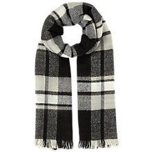 Buy Miss Selfridge Mono Reverse Check Scarf, Black Online at johnlewis.com