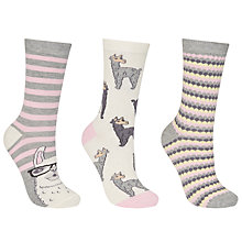 Buy John Lewis Alpaca Print Ankle Socks, Pack of 3, Grey/Multi Online at johnlewis.com