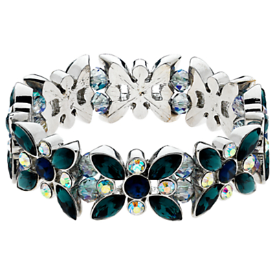 Monet AB Navette and Round Cut Glass Crystal Stretch Bracelet, Multi