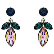 Buy Monet Rhodium Plated Glass Crystal Navette Drop Earrings, Silver Online at johnlewis.com