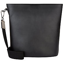 Buy Jaeger Hoxton Leather Bucket Bag, Black / Green Online at johnlewis.com