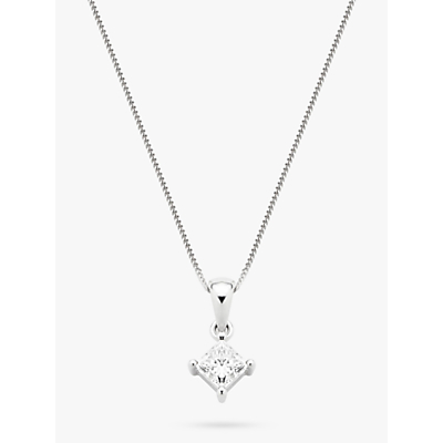 Diamond Collection 18ct White Gold Princess Cut Solitaire Diamond Pendant Necklace, 0.75ct