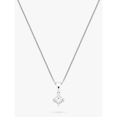 Diamond Collection 18ct White Gold Princess Cut Solitaire Diamond Pendant Necklace, 0.33ct