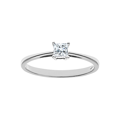 Diamond Collection 18ct White Gold Princess Cut Diamond Engagement Ring, 0.25ct