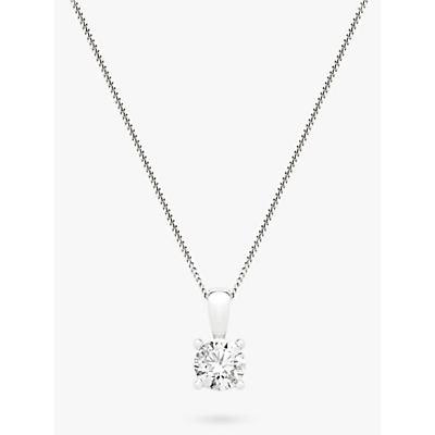 Diamond Collection 18ct White Gold Round Brilliant Solitaire Diamond Pendant Necklace, 0.75ct
