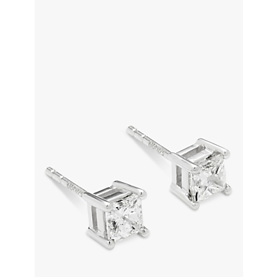 Diamond Collection 18ct White Gold Princess Cut Solitaire Diamond Stud Earrings, 0.75ct